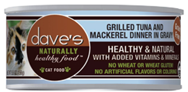 Dave's Naturally Healthy Grain Free Tuna & Mackerel Dinner In Gravy Cat Food - 5.5 oz.