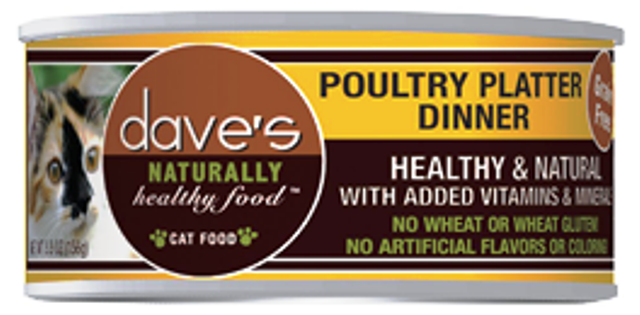 Dave's Naturally Healthy Grain Free Poultry Platter Dinner Cat Food - 5.5 oz.
