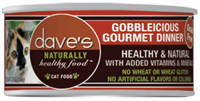 Dave's Naturally Healthy Grain Free Gobbleicious Gourmet Dinner Cat Food - 5.5 oz.