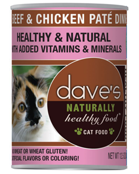 Dave's Naturally Healthy Grain Free Beef & Chicken Pate Dinner Cat Food - 12.5 oz.