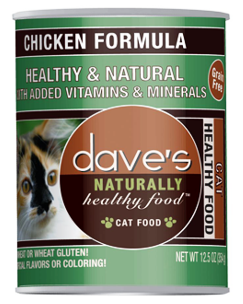Dave's Naturally Healthy Grain Free Chicken Formula Cat Food - 12.5 oz.