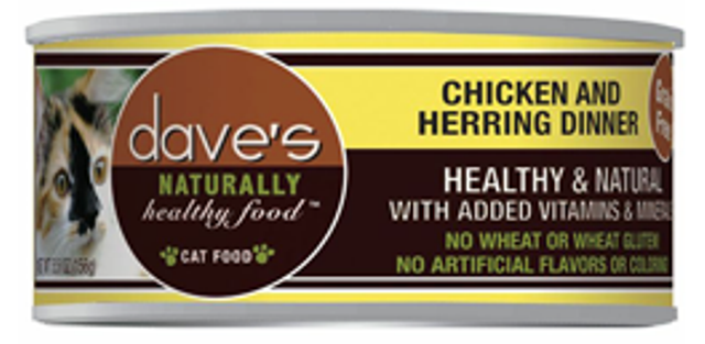 Dave's Naturally Healthy Grain Free Chicken & Herring Dinner Cat Food - 5.5 oz.