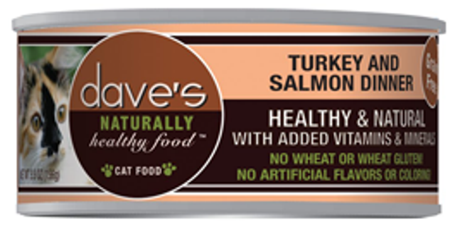 Dave's Naturally Healthy Grain Free Turkey and Salmon Cat Food - 5.5 oz.
