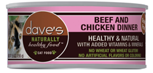 Dave's Naturally Healthy Grain Free Beef and Chicken Cat Food - 5.5 oz.