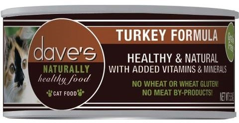 Dave's Naturally Healthy Grain Free Turkey Formula Cat Food - 5.5 oz.
