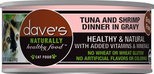 Dave's Naturally Healthy Grain Free Tuna & Shrimp Dinner Cat Food - 5.5 oz.