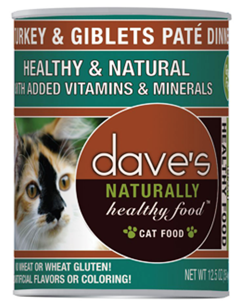 Dave's Naturally Healthy Grain Free Turkey & Giblets Pate Dinner Cat Food - 12.5 oz.