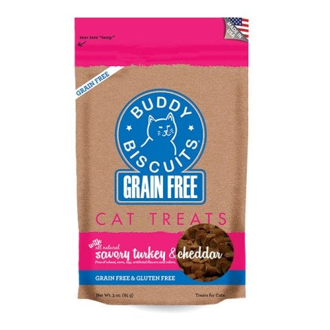 Buddy Biscuits Grain Free Savory Turkey & Cheddar Cat Treats - 3 oz.