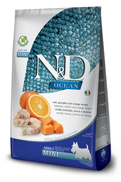 Farmina N&D OCEAN Codfish, Pumpkin & Orange Mini Breed Adult Dog Food
