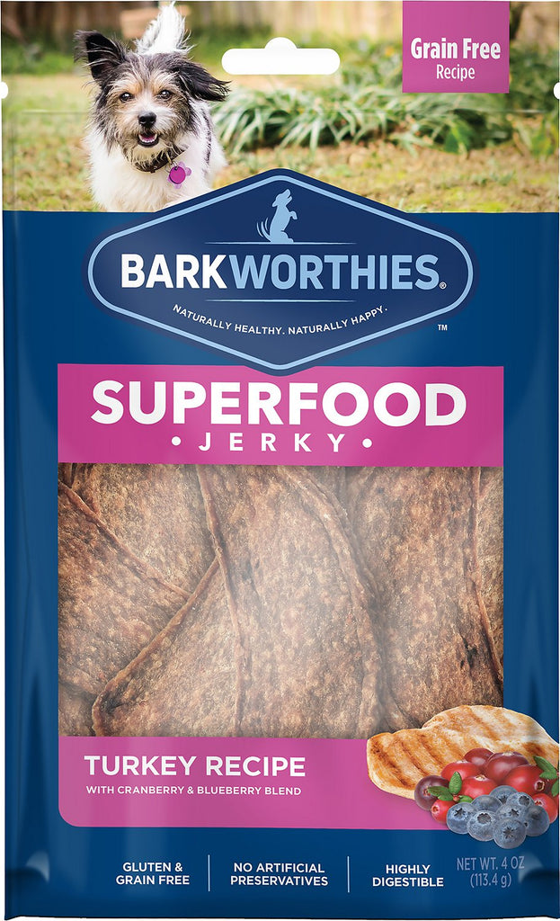 Barkworthies All Natural Turkey Jerky with Cranberry & Blueberry Dog Treat - 4 oz.