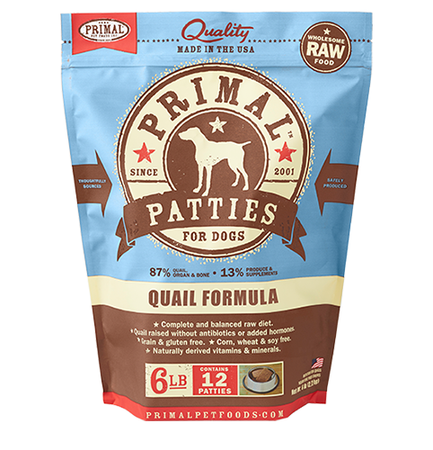 Primal Frozen Raw Canine Quail Formula Patties Dog Food - 6 lbs
