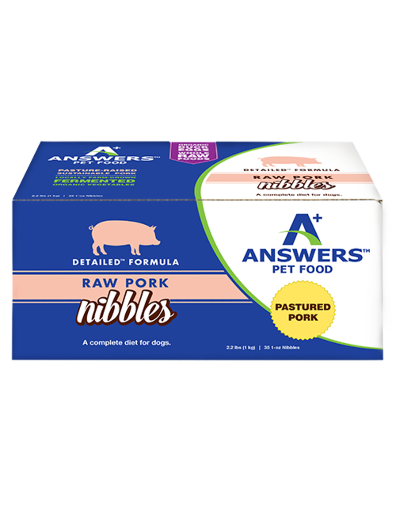 Answers Frozen Raw Pork Nibbles Food for Dogs - 2.2 lbs.