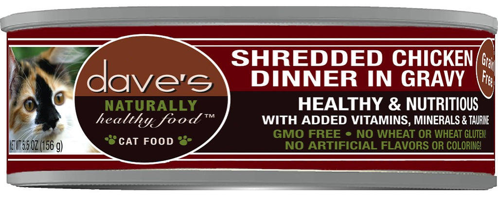 Dave's Naturally Healthy Grain Free Shreeded Chicken Dinner in Gravy Cat Food - 5.5 oz.