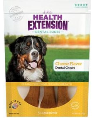 Health Extension Dental Bones Cheese Chews for Dogs - 3 Large Bones