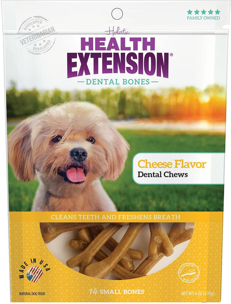 Health Extension Dental Bones Cheese Chews for Dogs - 14 small bones