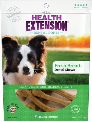 Health Extension Dental Bones Fresh Breath Chews for Dogs - 8 Medium Bones
