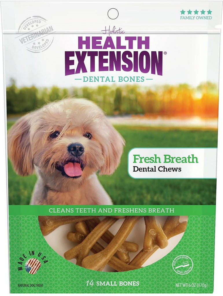 Health Extension Dental Bones Fresh Breath Chews for Dogs - 14 small bones