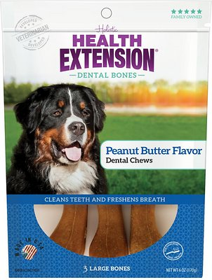 Health Extension Dental Bones Peanunt Butter Chews for Dogs - 3 Large Bones