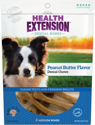 Health Extension Dental Bones Peanunt Butter Chews for Dogs - 8 Medium Bones