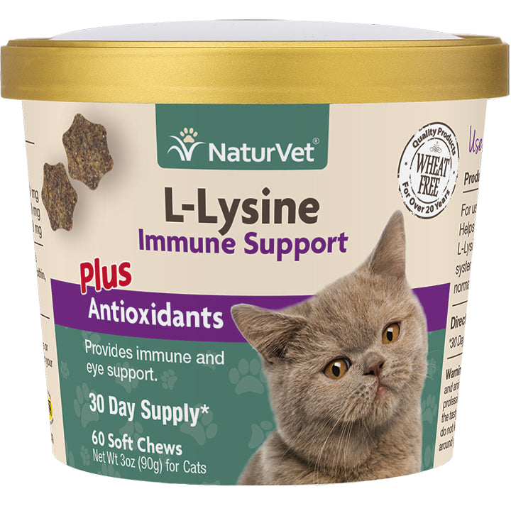 NaturVet L-Lysine Immune Support plus Antioxidants - 60 Soft Chews