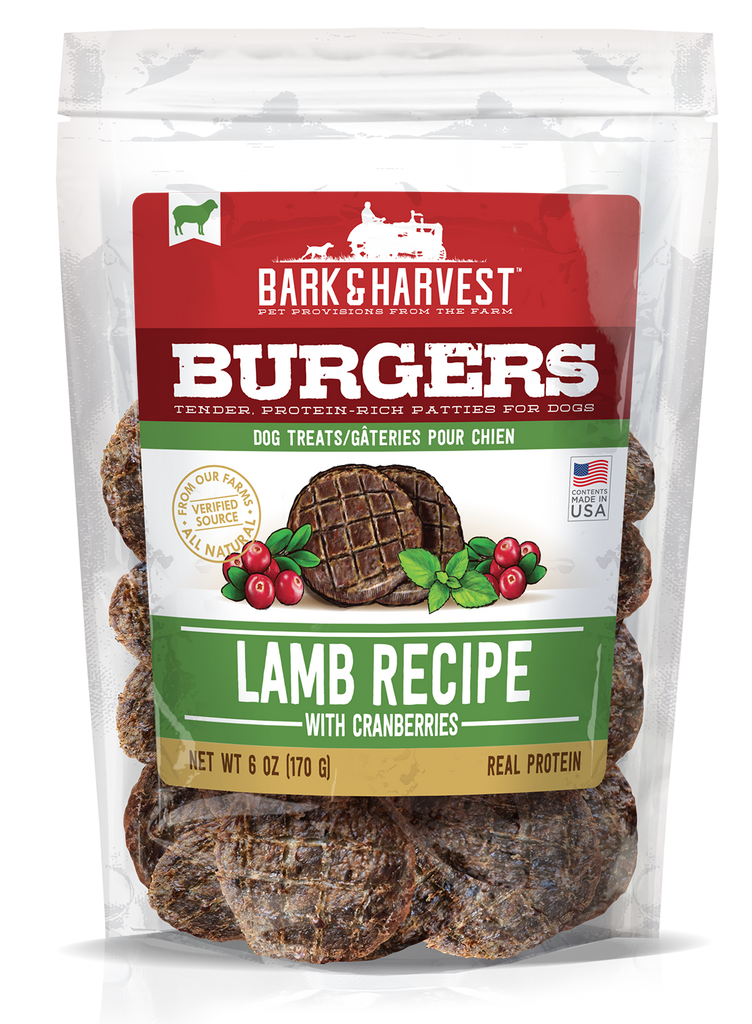 Superior Farms Bark & Harvest Lamb Burgers with Cranberries Dog Treats - 6 oz