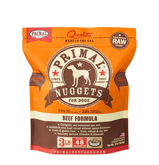 Primal Frozen Raw Canine Beef Formula Nuggets Dog Food - 3 lbs