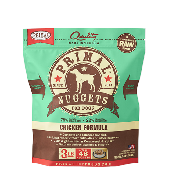 Primal Frozen Raw Canine Chicken Formula Nuggets Dog Food - 3 lbs