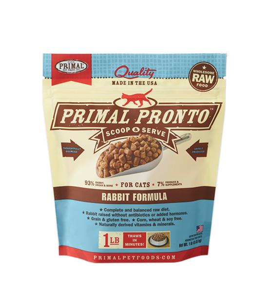 Primal Pronto Frozen Raw Rabbit for Cats - 1 lb