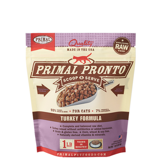 Primal Pronto Frozen Raw Turkey for Cats - 1 lb