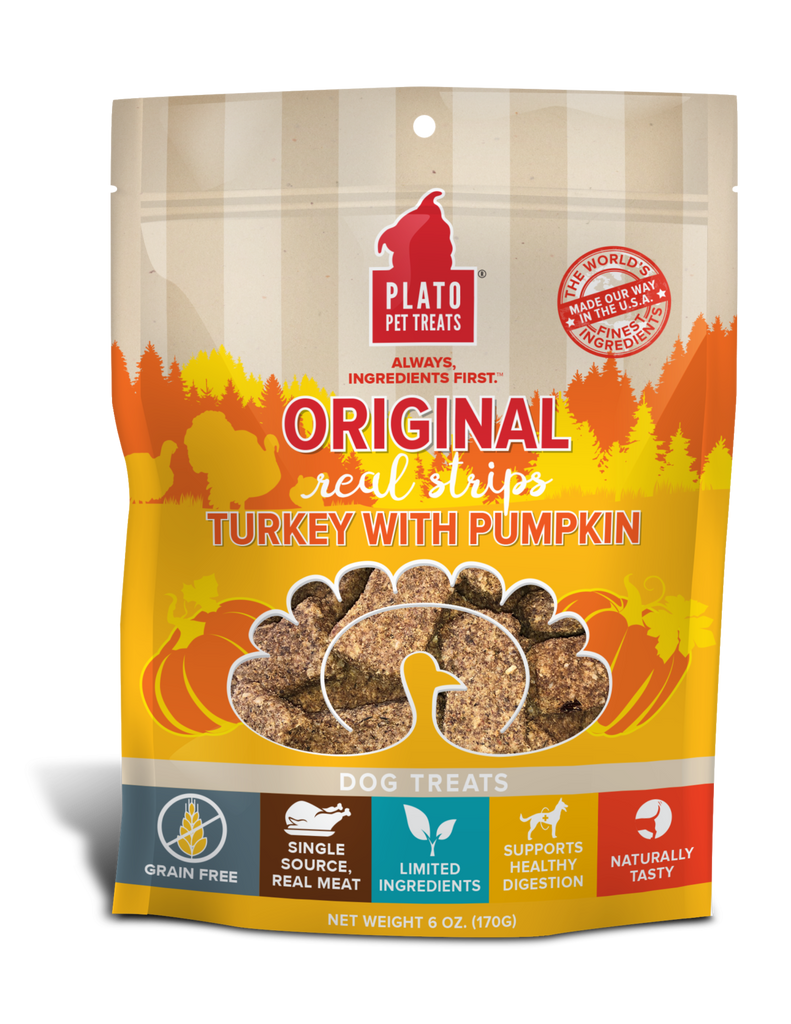 PLATO Orijinal Real Strips Turkey With Pumpkin Meat Bar Dog Treats