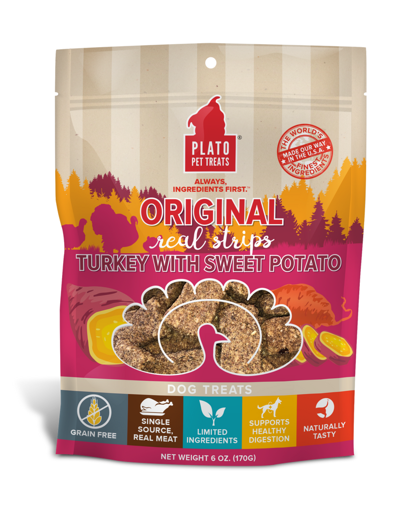 PLATO Orijinal Real Strips Turkey With Sweet Potato Meat Bar Dog Treats