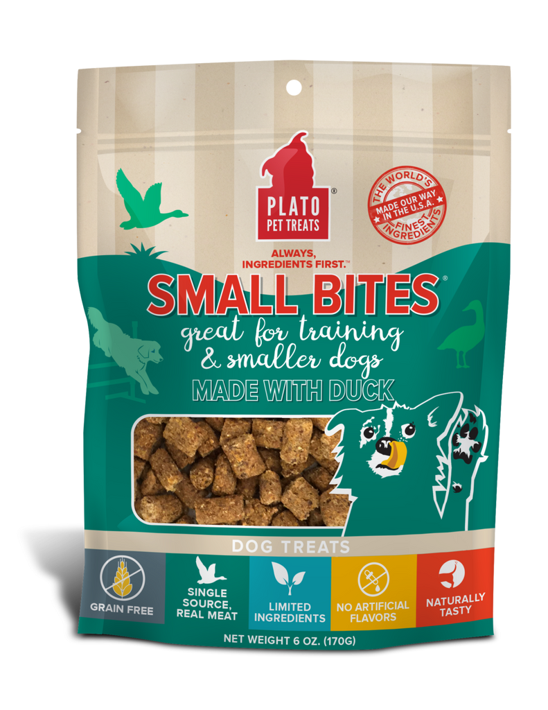 PLATO Pet Treats Small Bites Duck Recipe Dog Treats