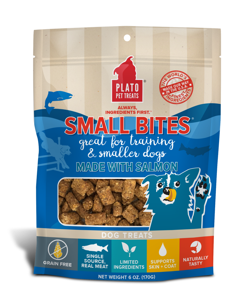 PLATO Pet Treats Small Bites Salmon Recipe Dog Treats