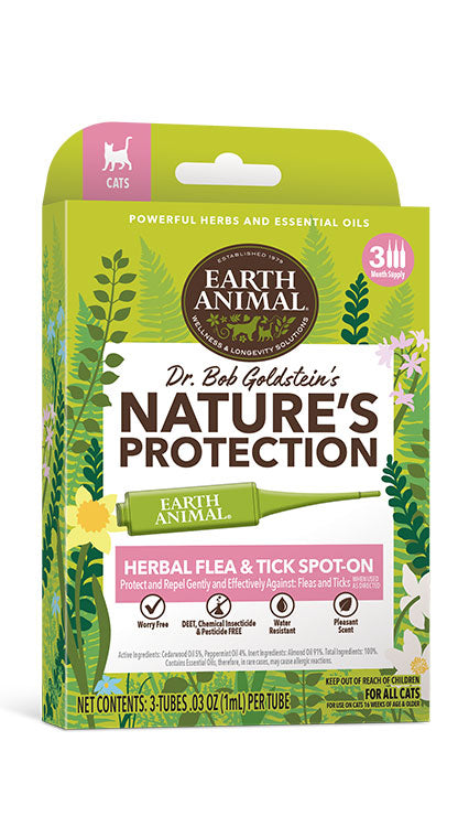 Earth Animal Dr. Bob Goldstein's Nature's Protection Herbal Flea & Tick Spot-On for Cats - 3 Applicators