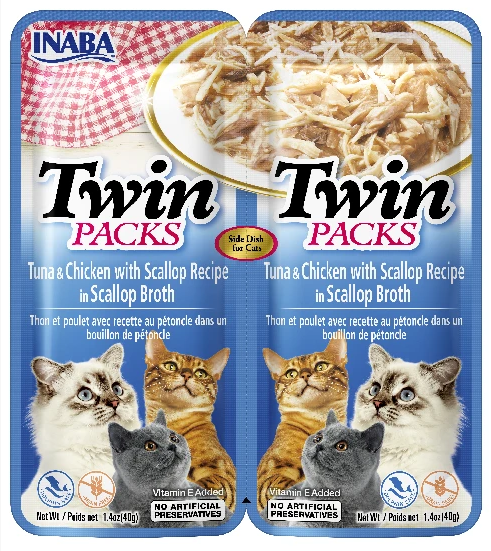 INABA Twin Packs - Tuna & Chicken with Scallop Recipe in Scallop Broth for Cats