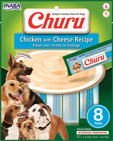 INABA Churu Chicken with Cheese Recipe Puree Dog Treat - 5.6 oz | (8) 0.7% Tubes