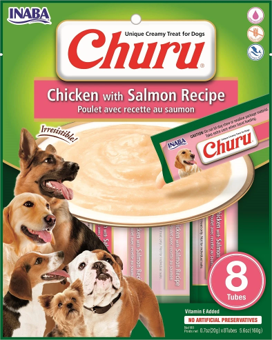 INABA Churu Chicken with Salmon Recipe Puree Dog Treat - 5.6 oz | (8) 0.7% Tubes