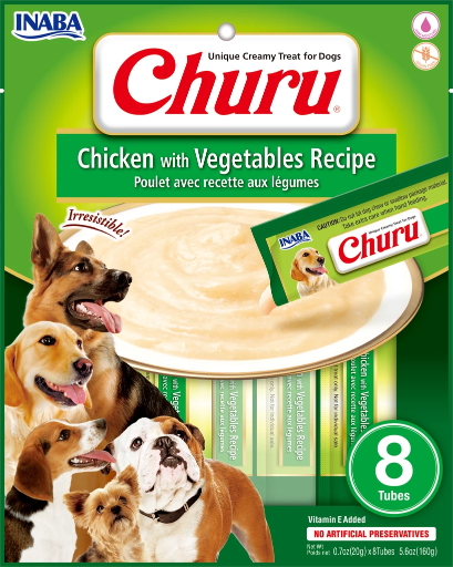 INABA Churu Chicken with Vegetables Recipe Puree Dog Treat - 5.6 oz | (8) 0.7% Tubes