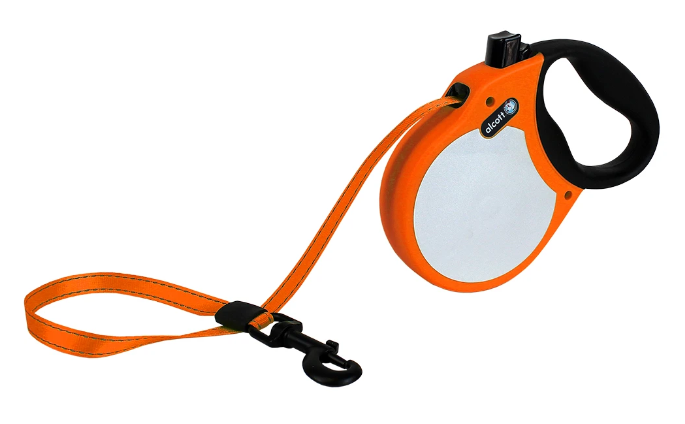 Alcott Visibility Retractable Reflective Tape Leash with Soft Handle for Dogs