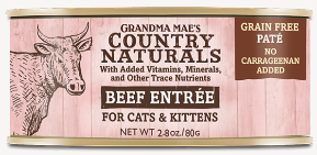 Grandma Mae's Country Naturals Beef Entree for Cat & Kittens - 2.8-oz
