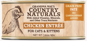 Grandma Mae's Country Naturals Chicken Entree Pate for Cat & Kittens - 2.8-oz