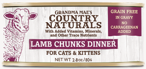 Grandma Mae's Country Naturals Lamb Chunks Dinner for Cat & Kittens - 2.8-oz