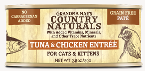 Grandma Mae's Country Naturals Tuna & Chicken Entree for Cat & Kittens - 2.8-oz