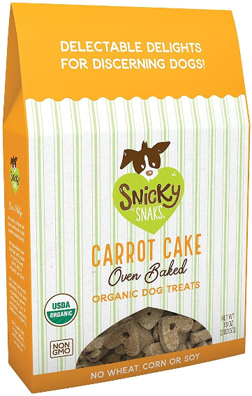 Snicky Snaks Carrot Cake Oven Baked Organic Dog Treats - 10-oz