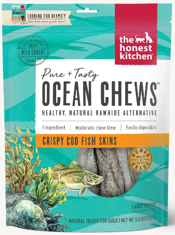 the honest kitchen Ocean Chews Crispy Cod Fish Skins - 5.5-oz