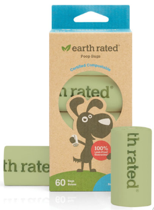 Earth Rated Certified Compostable Unscented Poop Bags - 60-Bags