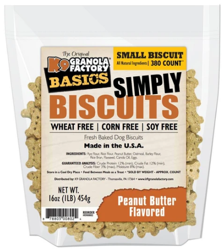 K9 Granola Factory Basics Simply Biscuits Peanut Butter Dog Treats - Small 350 count - 16-oz