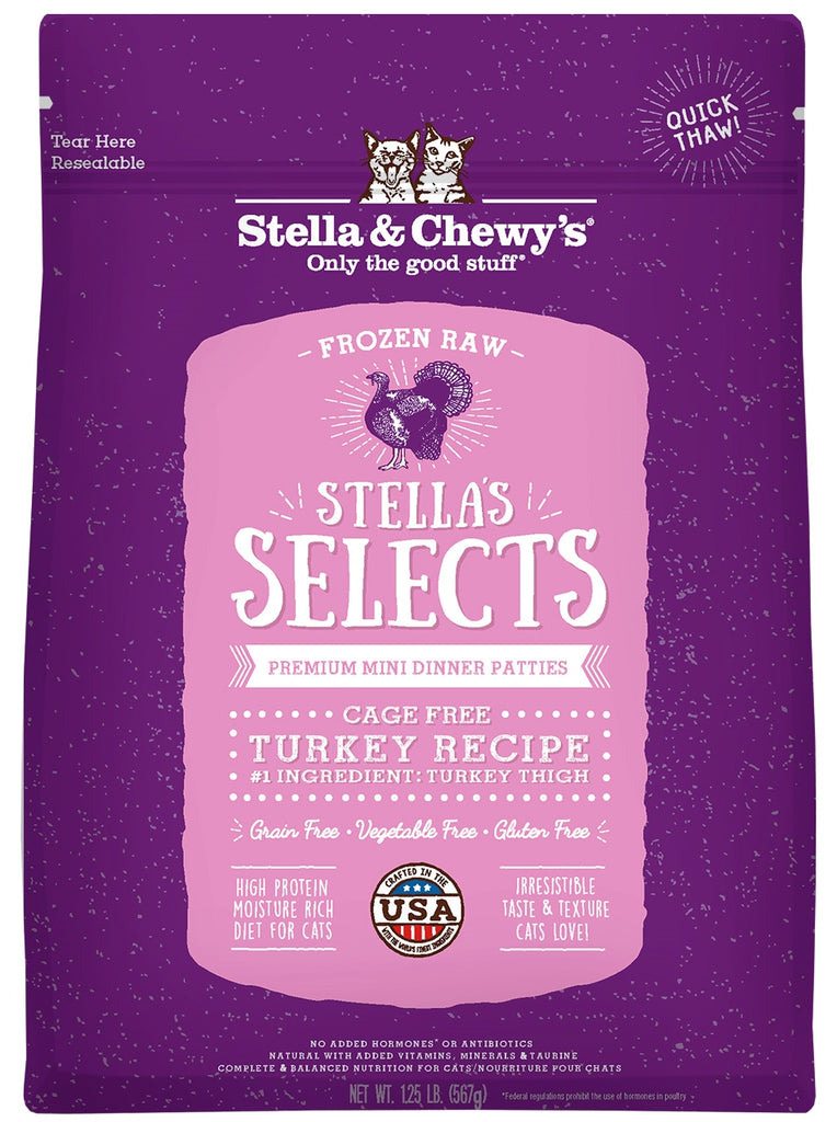 Stella & Chewy's Selects Frozen Turkey Cat Food - 1 lb