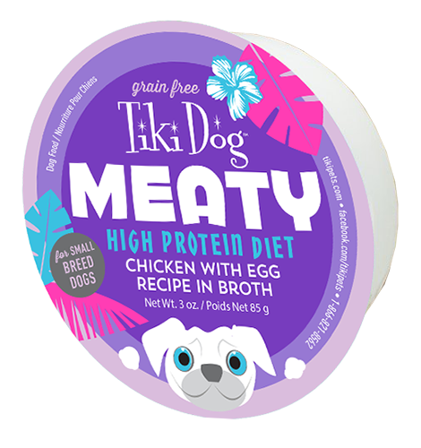 Tiki Dog Meaty High Protein Diet Chicken with Egg Recipe in Broth - 3-oz