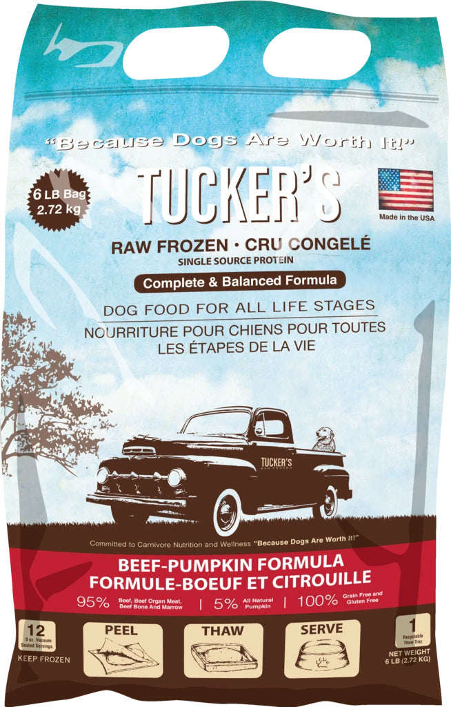 Tucker's Frozen Raw Beef Pumpkin Complete and Balanced Dog Food